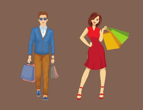 תמונה של אייקונים של גבר ואישה עושים קניות אופנה ולייף סטייל